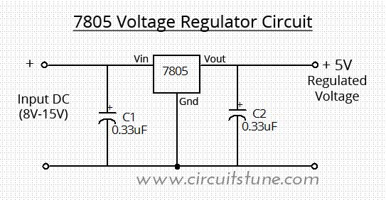 Voltage Regulator Circuit Using Lm7805 on 5 volt power supply circuit diagram