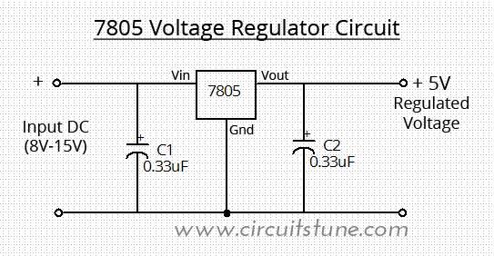 Voltage Regulator Circuit Using LM7805 | Schematic CircuitSchematic Circuit